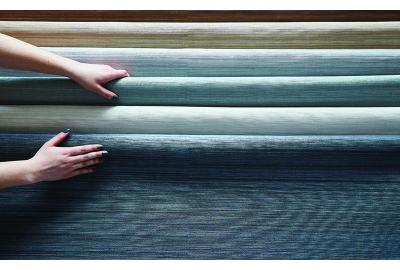TPO wall covering rolls in blue to neutral tones